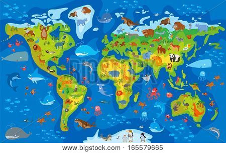 Animal world. Funny cartoon character. Vector illustration