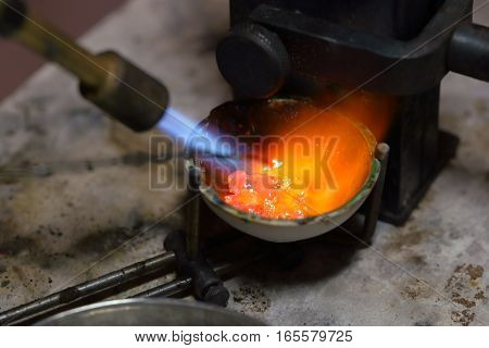 Melting Silver In A Jewelry Workshop