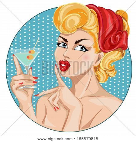Pin-up Sexy Woman Portrait With Martini. Silence Gesture Girl Hand Drawn Vector Illustration