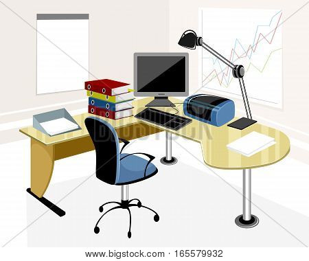 Vector illustration of a modern office workplace