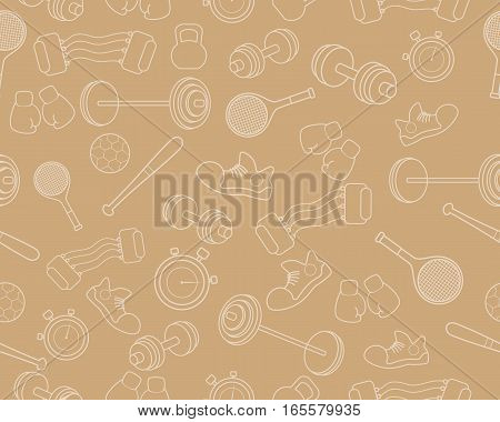 Vector illustration of a seamless background with sports equipment