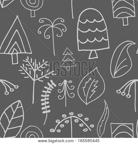 Fantastic simple trees and foliage vector seamless pattern on gray background