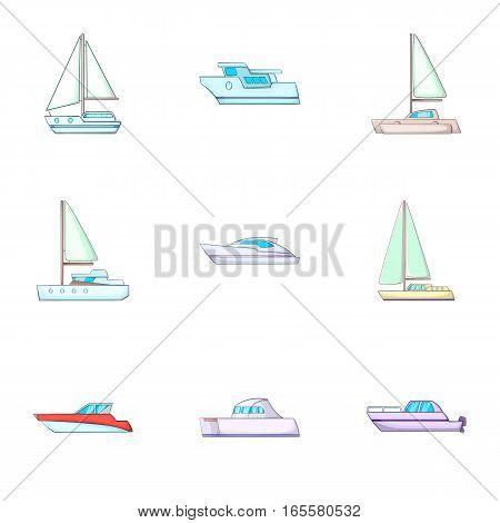 Ship boat travel icons set. Cartoon illustration of 9 ship boat travel vector icons for web
