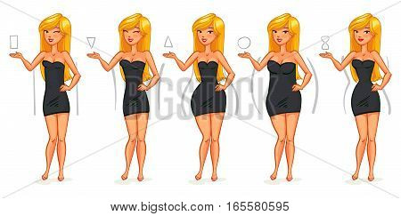 5 types of female figures. Triangle, inverted triangle, rectangle, rounded, hourglass. Funny cartoon character. Vector illustration. Isolated on white background