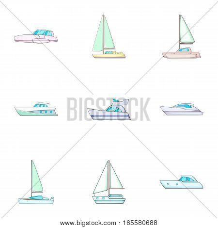 Sail boat icons set. Cartoon illustration of 9 sail boat vector icons for web