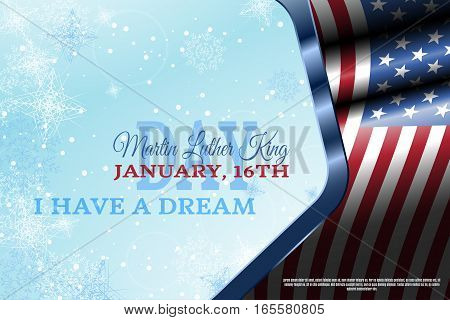 Vector holiday background of Martin Luther King Day in frame with waving flag snowflakes.