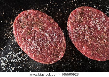 Meat For Burgers, Grilling, Barbecue, Bbq. Fresh, Spicy, Uncooked, Delicious Beef For Hamburgers On