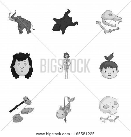 Stone age set icons in monochrome design. Big collection of stone age vector symbol stock illustration
