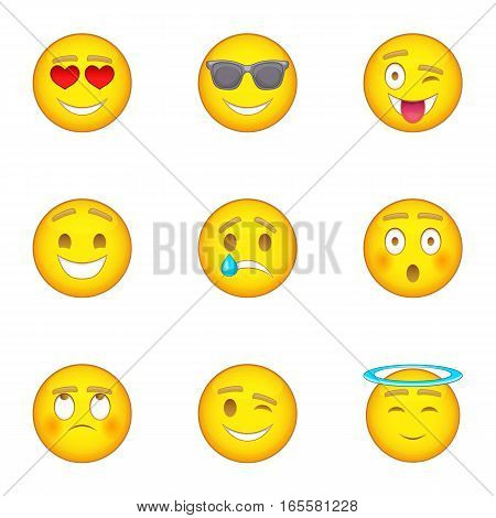 Emotional funny face icons set. Cartoon illustration of 9 emotional funny face vector icons for web