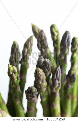 Bunch Of Asparagus On A Table. Uncooked Pile Raw For Organic, Vegetarian Cuisine, Delicious Fresh, H
