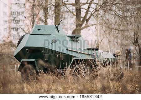 BA-64 Is A Small Lightly Armoured Soviet Scout Car Stands In Autumn Forest.