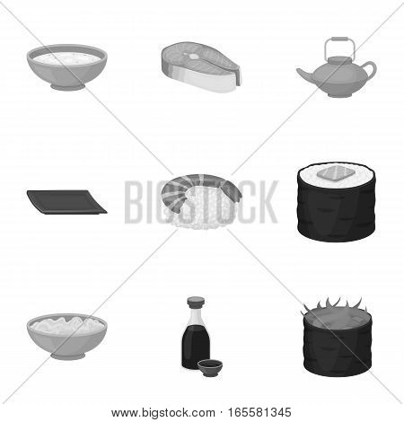 Sushi set icons in monochrome style. Big collection of sushi vector symbol stock