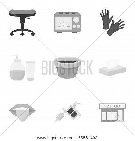 Tattoo studio set icons in monochrome style. Big collection of tattoo studio vector symbol stock