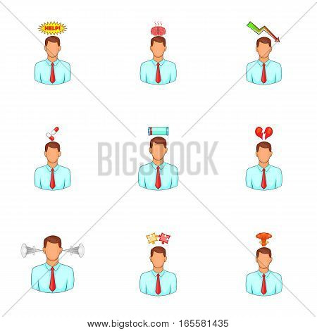 Mental issue icons set. Cartoon illustration of 9 mental issue vector icons for web