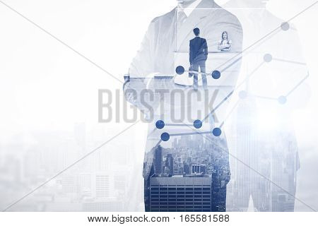 Thoughtful businessmen on city background thinking about work. Employment concept. Double exposure