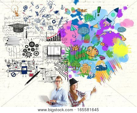 Young girl and man and bright colorful sketch on brick background. Creative and analytical thinking concept