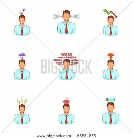 Emotional desperation icons set. Cartoon illustration of 9 emotional desperation vector icons for web