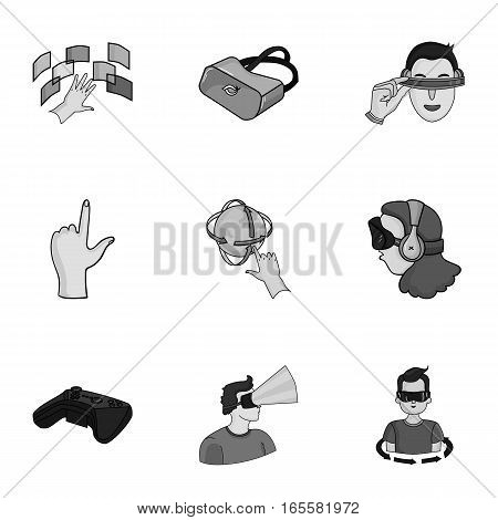 Virtual reality set icons in monochrome design. Big collection of virtual reality vector symbol stock illustration