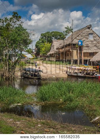 Santo Tomas Peru - May 17 2016: Boats on the bank of the river in the small village in Peru