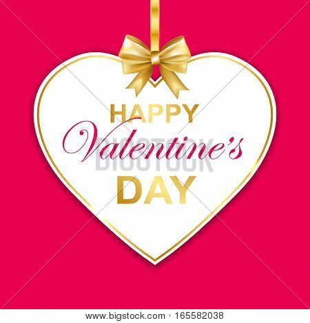 Happy Valentines day greeting card with callygraphy. Paper heart frame with gold bow. Vector Illustration.