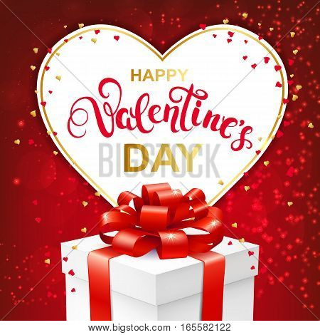 Happy Valentines day greeting card with handwritten lettering and gift box with bow. Paper heart frame and confetti on red sparkles background. Vector Illustration.