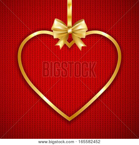 Gold heart frame with bow on knitted texture background. Happy Valentines day greeting card. Vector Illustration.