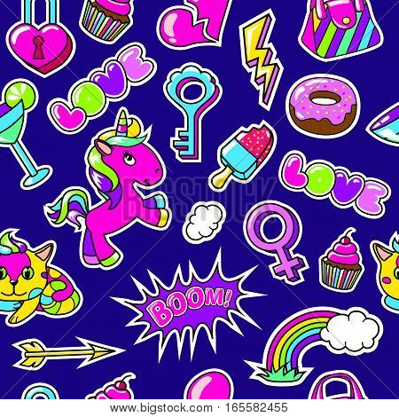 Comic fashion seamless pattern with colorful stickes and patches on blue background vector illustration