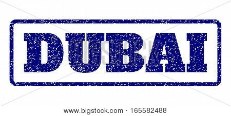Navy Blue rubber seal stamp with Dubai text. Vector caption inside rounded rectangular frame. Grunge design and dirty texture for watermark labels. Horisontal sign on a white background.