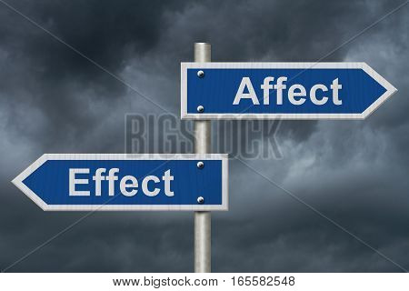 Learning to use proper grammar Blue road sign with words Affect Effect with stormy sky background 3D Illustration