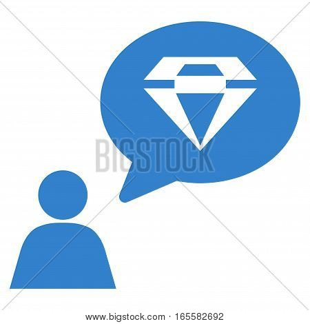 Diamond Thinking Person vector icon. Flat cobalt symbol. Pictogram is isolated on a white background. Designed for web and software interfaces.