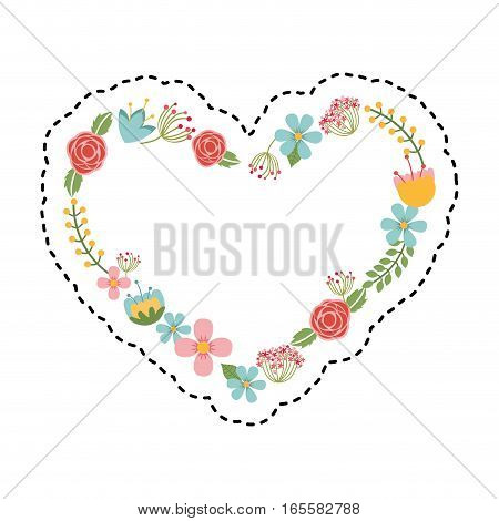 heart wreath leafs crown icon vector illustration design
