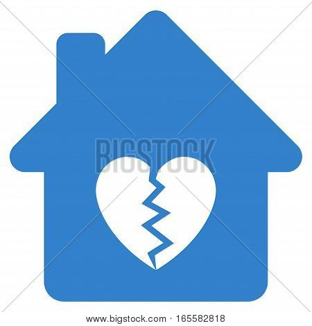 Divorce House Heart vector icon. Flat cobalt symbol. Pictogram is isolated on a white background. Designed for web and software interfaces.