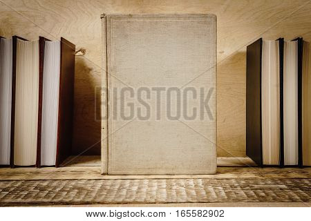 view of the cover of the book on a wooden shelf