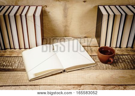 view of an open book and a hot cup of tea on the shelf