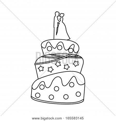 Cake wedding over white background, vector illustration eps10
