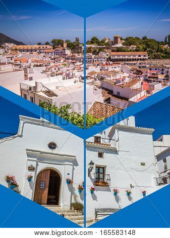 Collage of picturesque street of Mijas with flower pots in facades.