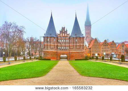 The Holstein Gate (holstentor) In Lubeck. Germany