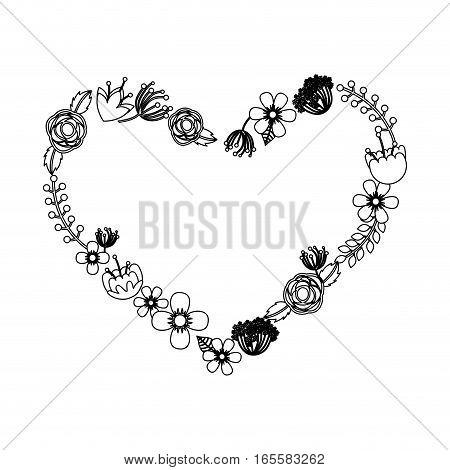 heart wreath leafs crown icon vector illustration design