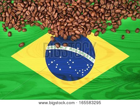 Brazil flag on wooden background and coffee beans
