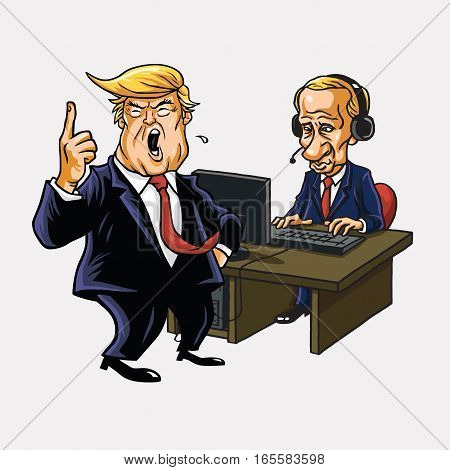 Donald Trump And Vladimir Putin in Front of His Computer. Vector Cartoon. January 17, 2017