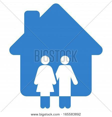 Family House vector icon. Flat cobalt symbol. Pictogram is isolated on a white background. Designed for web and software interfaces.
