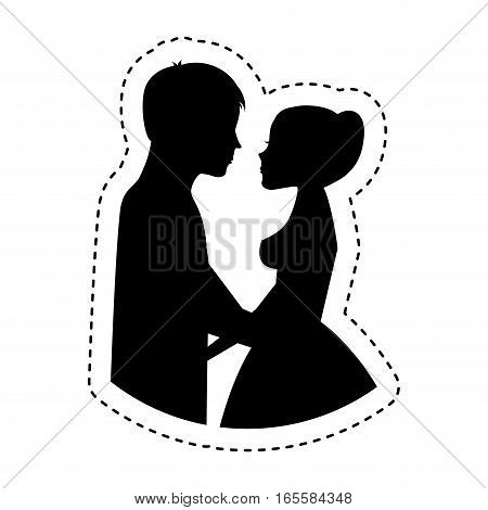 Couple of newlyweds character vector illustration design