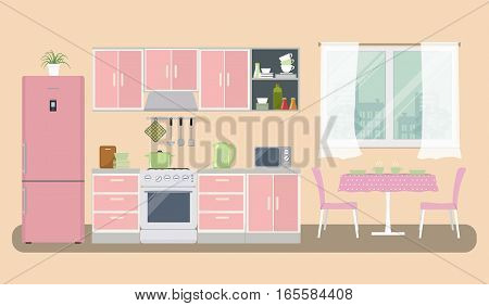 Kitchen in a pink color. There is a furniture, a stove, a refrigerator, a microwave, a kettle and other objects in the picture. There is also a table and chairs near the window. Vector illustration