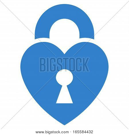 Heart Lock vector icon. Flat cobalt symbol. Pictogram is isolated on a white background. Designed for web and software interfaces.