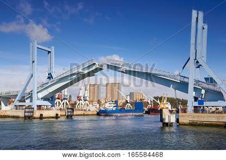 Porto modern marina with open drawbridge Portugal