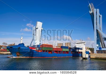 Industrial Ship Going Out From A Open Drawbridge, Porto