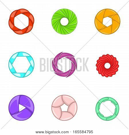 Camera shutter icons set. Cartoon illustration of 9 camera shutter vector icons for web
