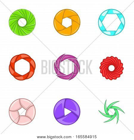 Camera lens shutter icons set. Cartoon illustration of 9 camera lens shutter vector icons for web