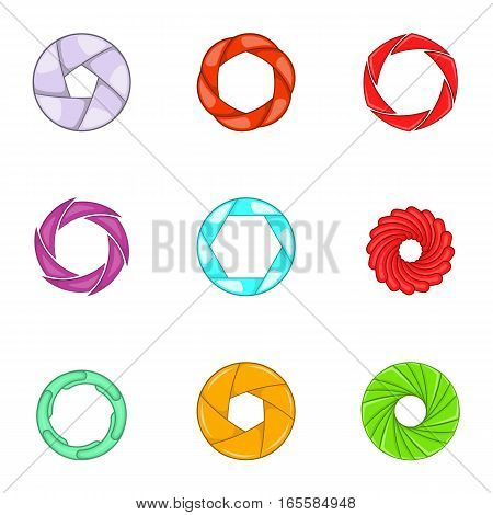 Aperture and photography icons set. Cartoon illustration of 9 aperture and photography vector icons for web