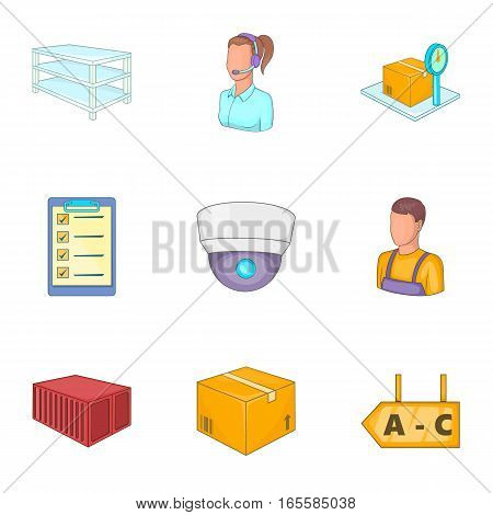 Warehouse icons set. Cartoon illustration of 9 warehouse vector icons for web